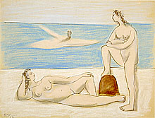 Pablo Picasso, Three Women Bathers (Pastel on paper)