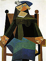 Pablo Picasso, Woman Sitting in an Armchair (Oil on canvas)